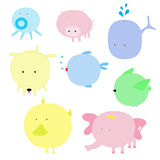 Vector illustration of cute animal set Royalty Free Stock Images