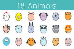 Vector illustration of cute animal set , Funny 18 Animal. Vector illustration Icon Set, cute cartoon animals,animals set icon, Vector Illustration Stock Image