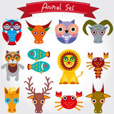 Vector illustration of cute animal set including lion, cat, horse, cow, scorpion, cancer, fish, owls, deer, goat, ox. Royalty Free Stock Photography