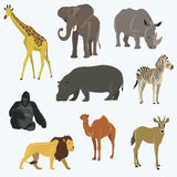 Vector illustration of cute animal set. Including monkey, giraffe, elephant, zebra Royalty Free Stock Images