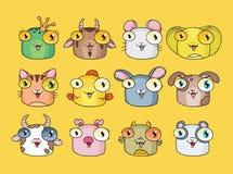Vector illustration of cute animal set Stock Image