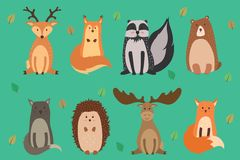 Vector illustration of cute animals autumn: reindeer, squirrel, raccoon, bear, wild cat, hedgehog, elk, fox. Vector. Vector illustration of cute animals autumn Royalty Free Stock Photography