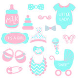 A vector illustration of cute baby girl icons like nappy pins, pacifier and baby toys. pink and turquoise silhouette Stock Photography