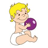 Vector illustration - cute baby holds a ball. Vector hand drawn illustration - cute baby holds a ball Royalty Free Stock Images