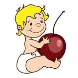Vector illustration - cute baby holds a cherry. Vector hand drawn illustration - cute baby holds a cherry Royalty Free Stock Photos