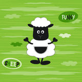 Vector illustration of a cute baby sheep on the green striped background with white clouds. T-shirt design for kids. Royalty Free Stock Images