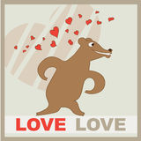 Vector illustration of a cute bear with a hearts. Letters love. Cute romantic illustration. Valentines card with cartoon character royalty free illustration