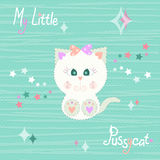Vector illustration of a cute beige kitty baby on striped green background with stars in pastel colors. T-shirt design for kids. T Stock Photos