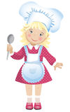 Vector illustration of a cute blond girl dressed in a chef's hat and apron Royalty Free Stock Photos