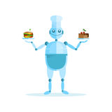 Vector illustration with cute bot, cook, cake and sandwich. Stock Photos