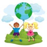 Happy kids holding the Earth balloon. Royalty Free Stock Photos