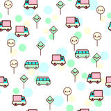 Vector illustration of the cute bus, car with the funny faces seamless pattern. Trendy Kawaii emoticons for print stock illustration
