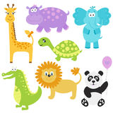 Vector  illustration  of  cute  cartoon  animals. Royalty Free Stock Photo