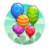 Vector illustration with cute cartoon balloons Royalty Free Stock Photography