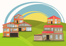 Vector illustration of cute cartoon colorful houses for sale or rent. vector flat buildings illustration Royalty Free Stock Photo
