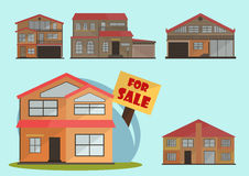 Vector illustration of cute cartoon colorful houses for sale or rent. vector flat buildings illustration Stock Images