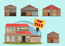 Vector illustration of cute cartoon colorful houses for sale or rent. vector flat buildings illustration Stock Photos
