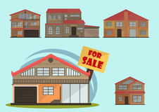 Vector illustration of cute cartoon colorful houses for sale or rent. vector flat buildings illustration Royalty Free Stock Photos