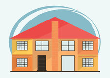 Vector Illustration of Cute Cartoon Colorful Houses for Sale or Rent. Vector Flat Buildings Illustration Royalty Free Stock Photography