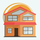 Vector Illustration of Cute Cartoon Colorful Houses for Sale or Rent. Vector Flat Buildings Illustration Stock Image