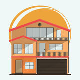 Vector Illustration of Cute Cartoon Colorful Houses for Sale or Rent. Vector Flat Buildings Illustration Royalty Free Stock Image