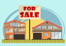 Vector illustration of cute cartoon colorful houses for sale or rent. vector flat buildings illustration Stock Photography