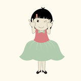 Vector illustration of cute cartoon girl . Stock Images