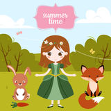 Vector illustration of cute cartoon girl and text Summer Time on the blue background. Stock Photo