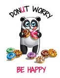 Vector illustration of cartoon panda with donuts. Vector illustration of cute cartoon happy fun panda with donuts. Greeting card, postcard. Dont worry, be happy Royalty Free Stock Photo