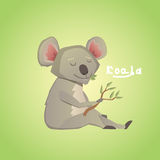 Vector illustration of cute cartoon koala. Vector illustration of cute cartoon koala on green background Stock Image