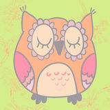 Vector illustration of cute cartoon owl. Vector owl with flovers background. Cute cartoon characters Royalty Free Stock Images