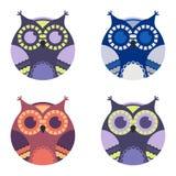 Vector illustration of cute cartoon owls Royalty Free Stock Photography