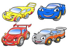 Vector illustration of cute cartoon racing car characters. Royalty Free Stock Photos
