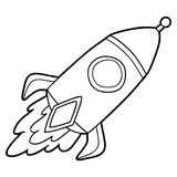 Outline rocket. Vector illustration of cute cartoon rocket character for children, coloring page royalty free illustration