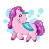 Cute cartoon unicorn, fantasy little beautiful horse for game design. Royalty Free Stock Photos
