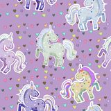 Pink unicorn with colorful hearts. Vector illustration. Seamless pattern vector illustration