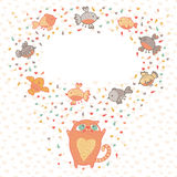 Vector illustration of a cute cat and birds. Card  Stock Photos