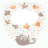 Vector illustration of a cute cat and birds. Card  Royalty Free Stock Image