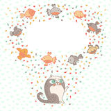 Vector illustration of a cute cat and birds. Card  Stock Photography