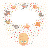 Vector illustration of a cute cat and birds. Card  Royalty Free Stock Photos