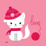 Ð¡ute cat and word love Royalty Free Stock Image