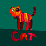 Vector illustration of cute cat. Vector cartoon cat Royalty Free Stock Image