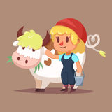 Vector illustration of Cute catroon girl with cow Stock Image