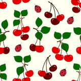 Vector illustration of cute cherry and ladybug seamless pattern. Red cherries with green leaves and red ladybugs Stock Photography