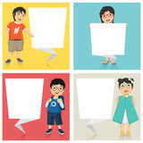 Vector Illustration Of Cute Children With Flat Ori. Gami Banners Royalty Free Stock Photo