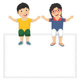 Vector Illustration Of Cute Children Holding Banne. R Royalty Free Stock Image