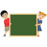 Vector Illustration Of Cute Children Holding Board Royalty Free Stock Photography