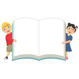 Vector Illustration Of Cute Children Holding Book. 