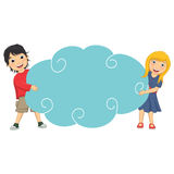 Vector Illustration Of Cute Children Holding Cloud Stock Photography