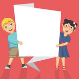 Vector Illustration Of Cute Children Holding Origa. Mi Banner Royalty Free Stock Photo